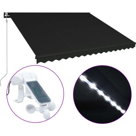 Retractable Awning with Wind Sensor & LED 450x300 cm Anthracite