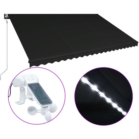 Retractable Awning with Wind Sensor & LED 500x300 cm Anthracite