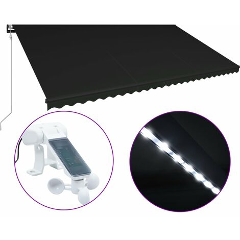 Retractable Awning with Wind Sensor & LED 600x300 cm Anthracite