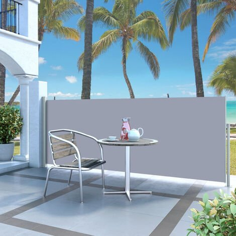 Retractable Side Awning 120 x 300 cm Grey