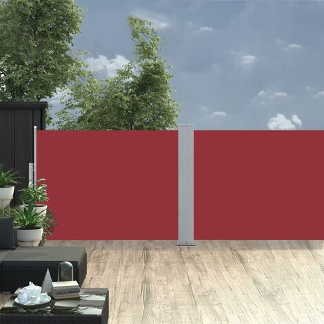 Retractable Side Awning Red 120x1000 cm