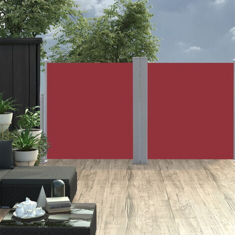 Retractable Side Awning Red 120x600 cm