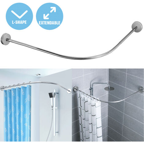 Retractable Stainless Steel Shower Curtain Rod Without Punch With 12 Hooks