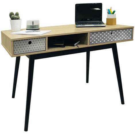 RETRO - 2 Drawer Office Computer Desk / Dressing Table - Oak / Black