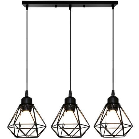 Retro 3 Lights Ceiling Light Metal E27 Vintage Hanging Lamp Black Pendant Light Industrial Cage Style Pendant Lamp