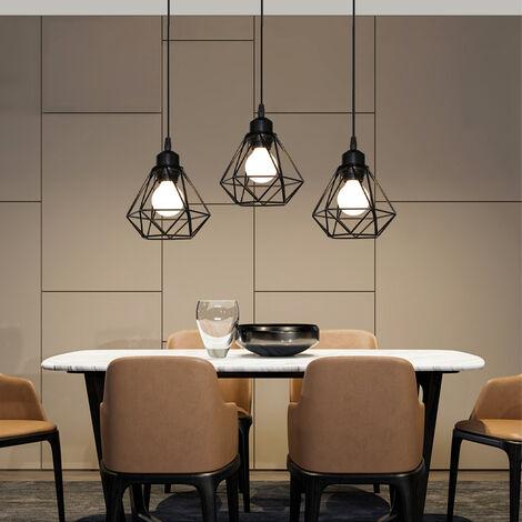 Retro 3 Lights Ceiling Light Metal E27 Vintage Hanging Lamp Industrial Pendant Light Cage Style Black Pendant Lamp