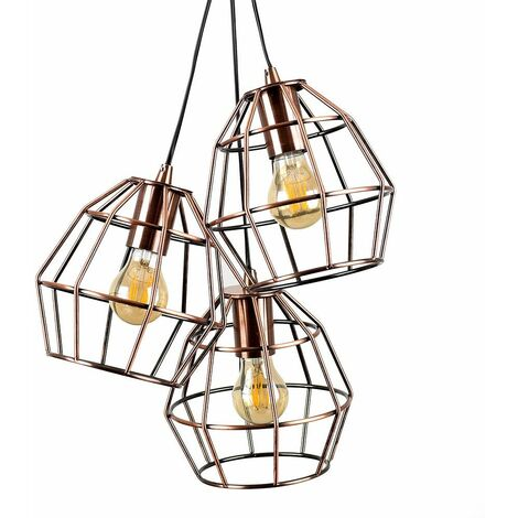 Retro 3 Way Metal Basket Cage Pendant Ceiling Light Fitting + 4W LED Filament Amber Tinted Light Bulbs -
