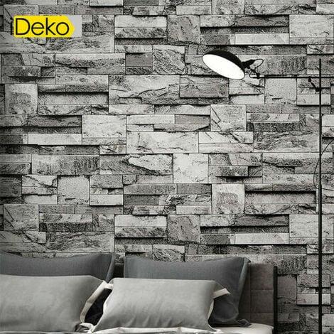 Rétro 3D PVC Papier Peint Simulation Briques Antique Naturel Décoration Noir 10 * 0.53 (M)