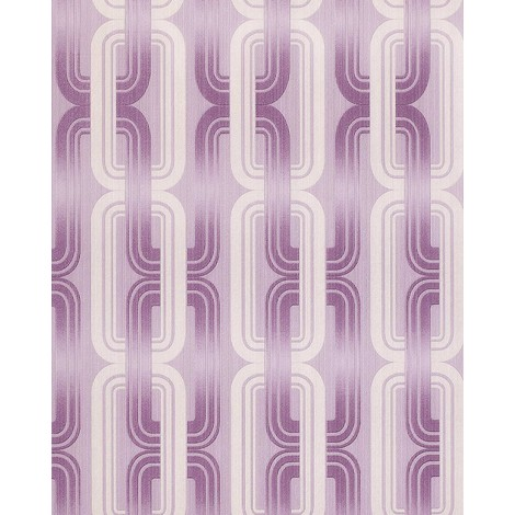 Retro 70s style wallpaper wall EDEM 038-24 graphical pattern lilac violet lavender white glitter 5.33 sqm (57 sq ft)