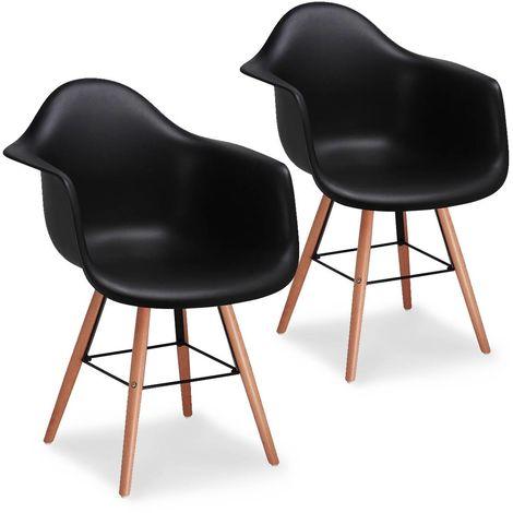 RETRO ACCOUDOIR - Lot de 2 chaises scandinaves noires avec accoudoir