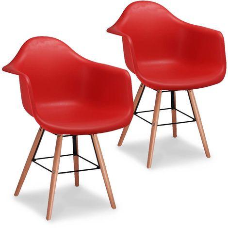 RETRO ACCOUDOIR - Lot de 2 chaises scandinaves rouges avec accoudoir