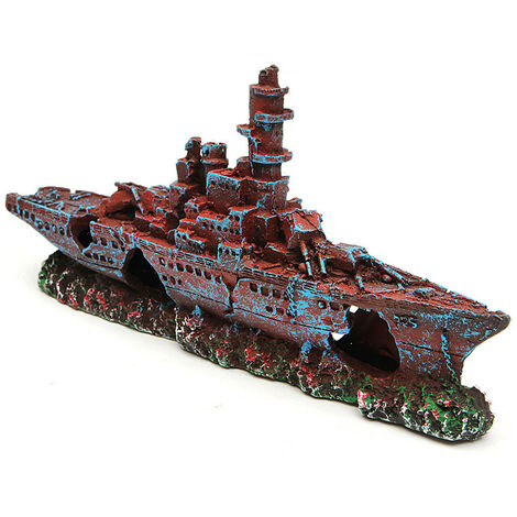 Retro Aquarium Ornament Destroyer Marine War Sailboat Ship Wreck Mold Aquarium Historical Sites Decoration