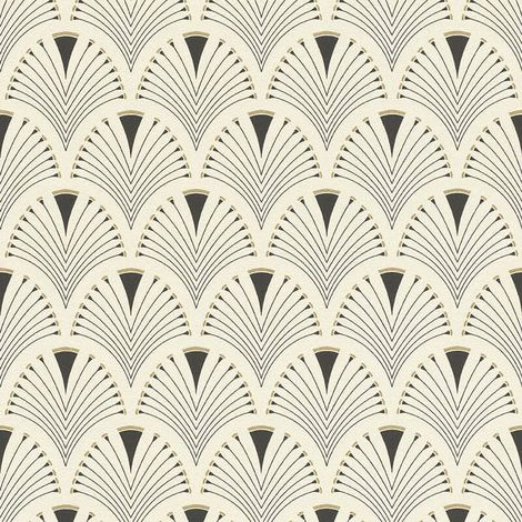 """main image of """"Retro Art Deco Arch Fan Design Black Cream Wallpaper Vinyl Paste Wall Glitter"""""""