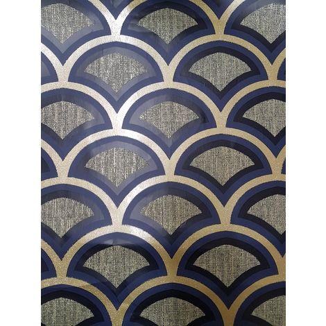 Retro Art Deco Arch Fan Geometric Blue Gold Glitter Moon Wallpaper Vinyl Debona