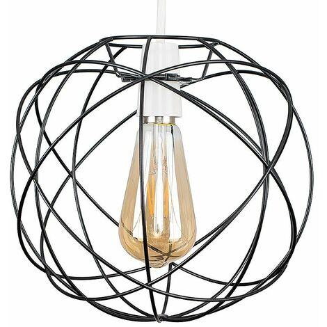 Atom Metal Basket Cage Ceiling Pendant Light Shade - Matt Black