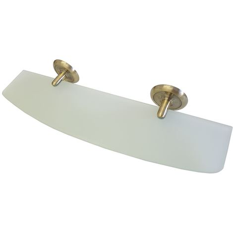 Retro Bathroom Antique Brass Endings Mirror Ledge Tempered Glass Shelf 505mm