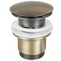 Retro Bathroom Antique Brass Slotted Round Button Waste Basin Plug Click Clack