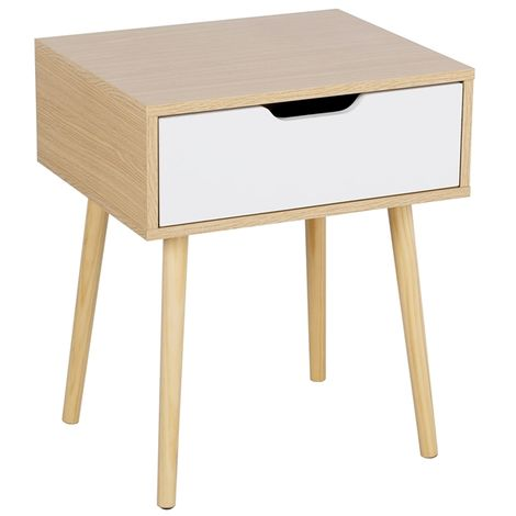 Retro Bedside Table End Table Nightstand with Storage Drawer and Solid Wood Legs Living Room Bedroom Furniture 48 x 40 x 58cm