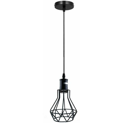 """main image of """"Retro Black Ceiling Pendant Light Diamond cage Hanging With 95cm Adjustable For Bedroom, Dining Room, Living Room"""""""