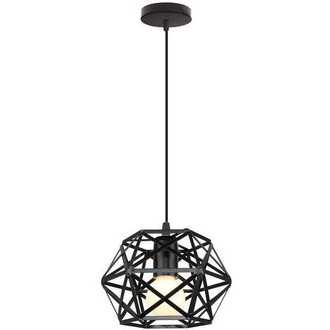 Retro Black Pendant Light Metal Cage Ceiling Light Vintage Industrial Hanging Light Antique Pendant Lamp Ø200MM