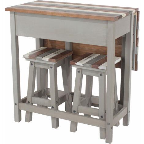 Retro breakfast drop leaf table & 2 stools SET Grey pine
