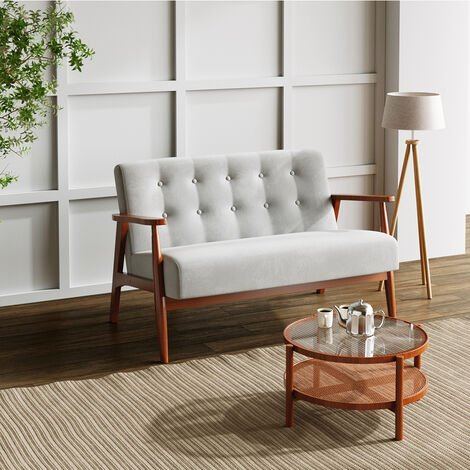 Retro Button Upholstered 2 Seater Linen Fabric Sofa Table Set Couch
