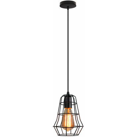 Retro Cage Pendant Light Black Industrial Creative Ceiling Lamp E27 Socket Vintage Hanging Light for Bedroom Cafe Adjustable Cable