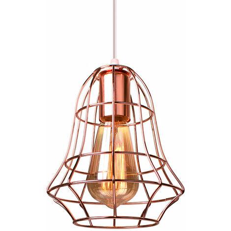 Retro Cage Pendant Light Rose Gold Industrial Creative Ceiling Lamp E27 Socket Vintage Hanging Light for Bedroom Cafe Adjustable Cable