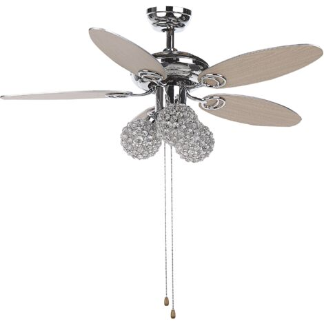 Retro Ceiling Fan with Light 3 Shades Pull Chain Speed Control Silver Heilong