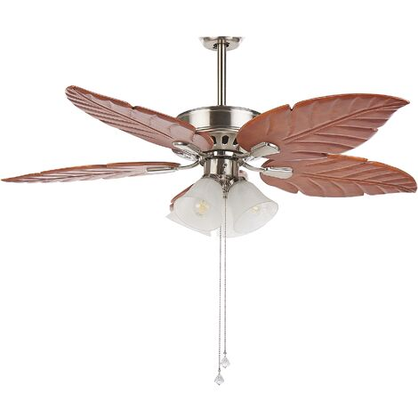 Retro Ceiling Fan with Light Wooden Blades Pull Chain Speed Control Silver Gila