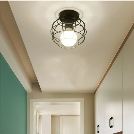 Retro Ceiling Lamp Black Industrial Ceiling Light E27 Metal Cage Chandelier