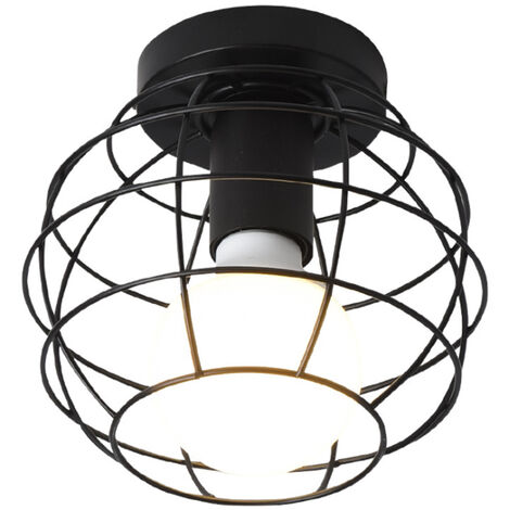 Retro Ceiling Lamp Industrial Ceiling Light E27 Ø17cm Black Metal Cage Chandelier