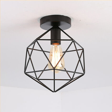 Retro Ceiling Lamp Vintage Chandelier Industrial Ceiling Light Iron Metal Cage Ceiling Light for Living Room Kitchen Hallway