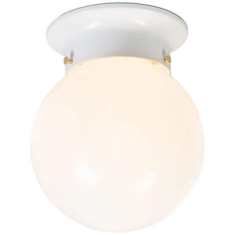 Retro ceiling lamp white opal glass - Scoop