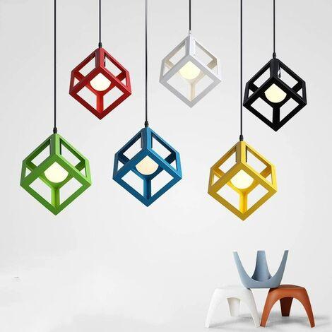 Retro Ceiling Light Modern Hanging Lamp Square Pendant Light (Color:Green) Metal Iron Cage Pendant Lamp Creative Geometric Pendant Lamp