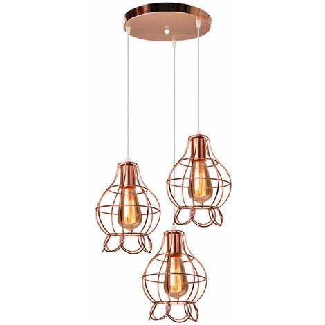Retro Ceiling Light Rose Gold Modern Creative Pendant Light Vintage Elegant 3 Heads Chandelier for Loft Cafe Dining Indoor Decoration