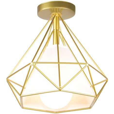 """main image of """"Retro Chandelier Vintage Cage Ceiling Light Diamond Shape 25CM (Gold) Industrial Ceiling Lamp Metal Iron E27 for Restaurant Cafe"""""""
