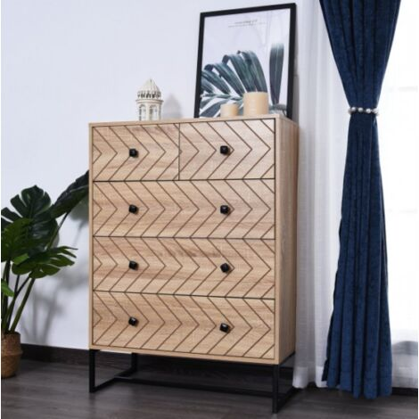 Retro Chest Drawers Vintage Industrial Furniture Metal Bedroom Wood Side Cabinet