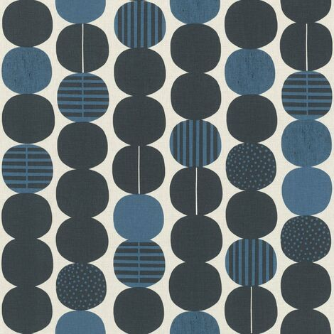 Retro Circles Wallpaper Navy and Cream Textured Vinyl Feature Wall