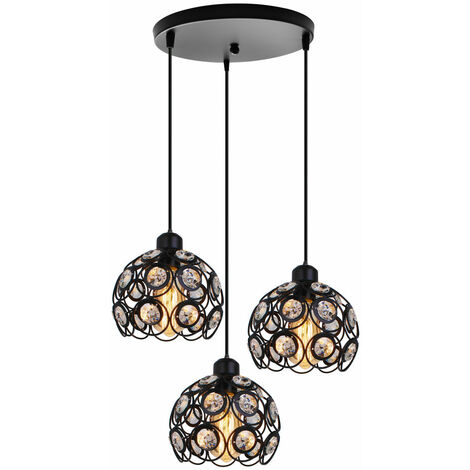Retro Classic Chandelier Modern Crystal Pendant Light Creative 3 Lights Ceiling Lamp for Bedroom Bar Office Black