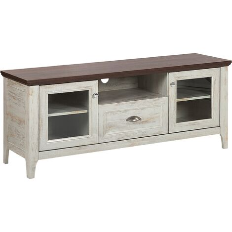 Retro Classic TV Stand White and Brown 58 x 141 cm with Glass Display Cabinets and Drawer Medan