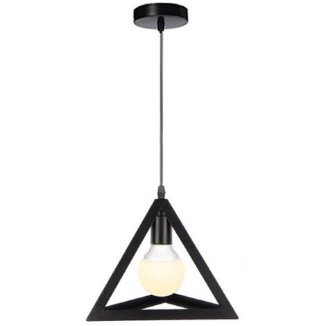 Retro Colorful Ceiling Lamp Metal Triangle Pendant Hanging Lighting Black Industrial Cage Light E27