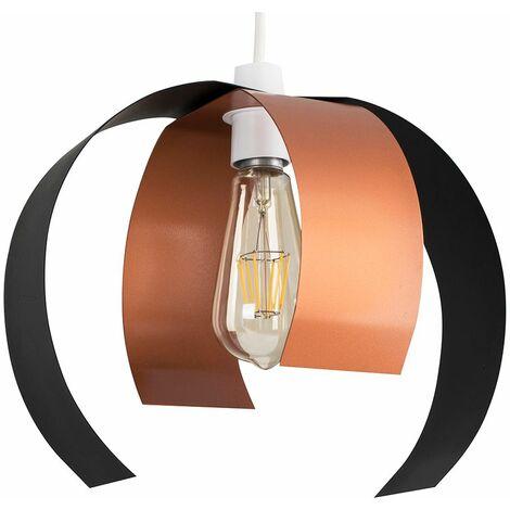 Retro Desinger Matt Black Copper Curved Metal Panel Ceiling Pendant Light Shade 4w Led Filament