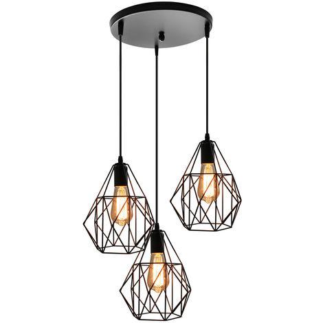 Retro Diamante Luz de Techo Lámpara de Araña Clásica Creativa 3 Luces Luz Colgante para Cafe Bar Negro E27