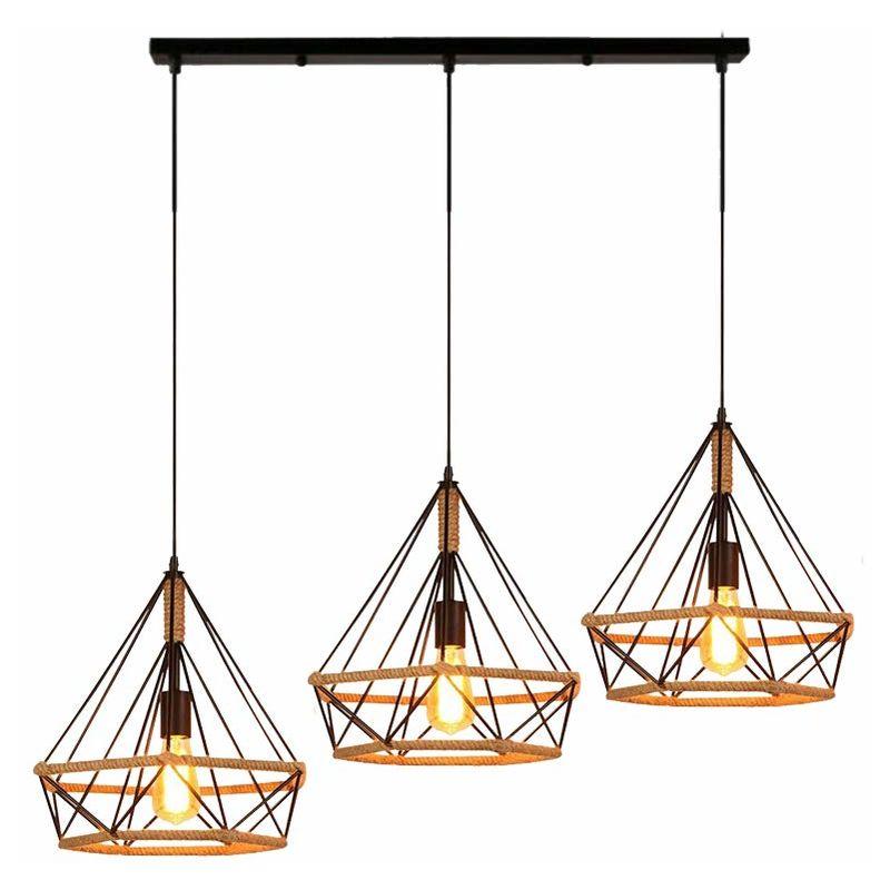 Retro Diamond Ceiling Lamp Industrial Adjustable Pendant Light Hemp Rope Chandelier 3 Lights For Living Room Dining Room Bar Balcony Black E27 P00zmd020