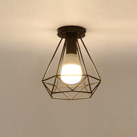 Retro Diamond Ceiling Light Black Metal Cage 20CM Chandelier E27 Industrial Ceiling Lamp