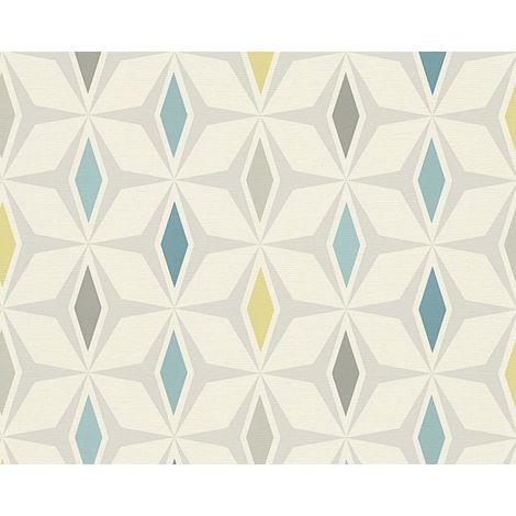 Retro Diamond Geometric Wallpaper Blue Grey White Vinyl Paste Wall A.S Creation