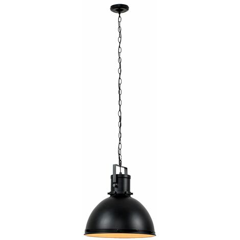 Dome Shade Suspended Chain Ceiling Light - Black