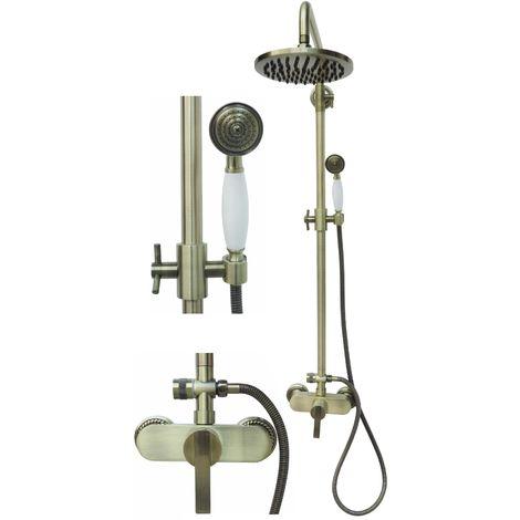 Retro Duschset Duschsystem Brauseset Armatur Dusche Regendusche Bronze Nostalgie Handbrause Brause Set Duscharmatur Einhebelmischer