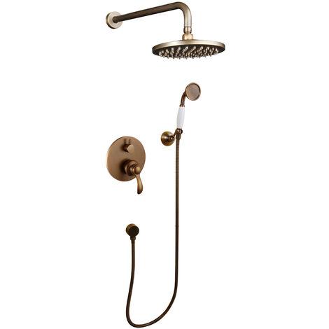 Retro-Duschsystem runde Form goldfarben